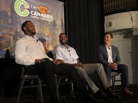Former Detroit Lions players Rob Sims (left) and Calvin Johnson (middle) discuss their cannabis-brand Primative.Eli Newman / WDET