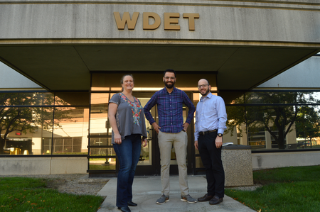 From left to right: Dr. Mae Elise Cannon, Rabbi Daniel Roth, Aziz Abu SarahJake Neher/WDET