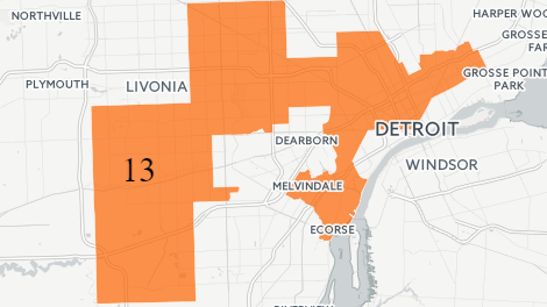 Know Your Congressional District: Michigan's 13th | WDET Detroit District Map on southwest detroit map, detroit township map, detroit areas to avoid, detroit district 2, detroit slums ghetto, detroit weather map, detroit wasteland, detroit potholes, detroit hood, detroit railroad map, detroit district 5, detroit construction, detroit murder map, detroit church map, detroit shootings map, detroit community map, detroit crime stats, detroit ward map, detroit area code map, detroit drug gangs,