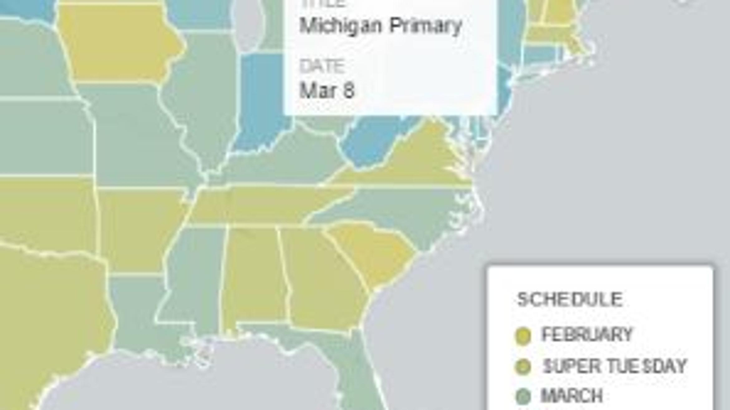 Image of: Tracking The Presidential Primaries Delegate Count And State Results Map Chart Wdet