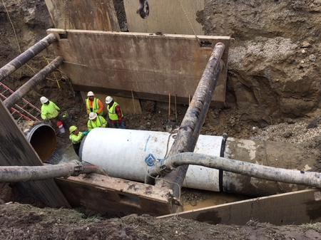 A water main repair in Oakland County.Great Lakes Water Authority