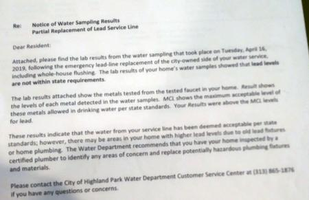 The letter informing Cotton of elevated levels of lead in her tap water.Courtesy of Marcia Cotton
