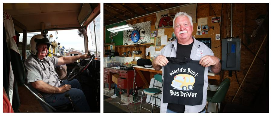 Frenzel, driver, posing in his bus (left) and with a shirt a family member gifted him. 'I've been racing my whole life, once I quit doing it on a weekly basis I kind of retired into this,' says Franzel.Shiraz Ahmed