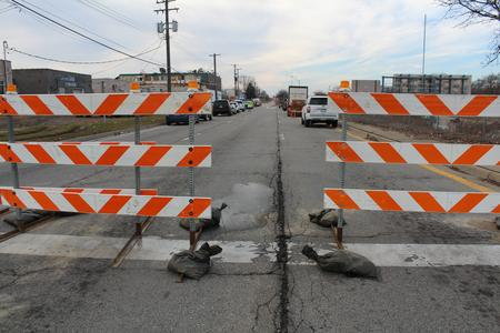 A road closure due to the contaminant leaking onto the service drive.Laura Herberg/WDET