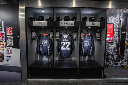 A view inside the NHL's mobile museum.National Hockey League