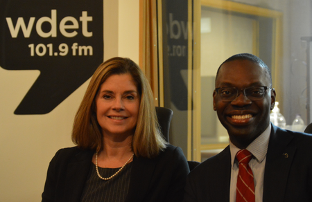 Michigan Supreme Court Chief Justice Bridget Mary McCormack (left) and Lt. Gov. Garlin Gilchrist (right)Jake Neher/WDET