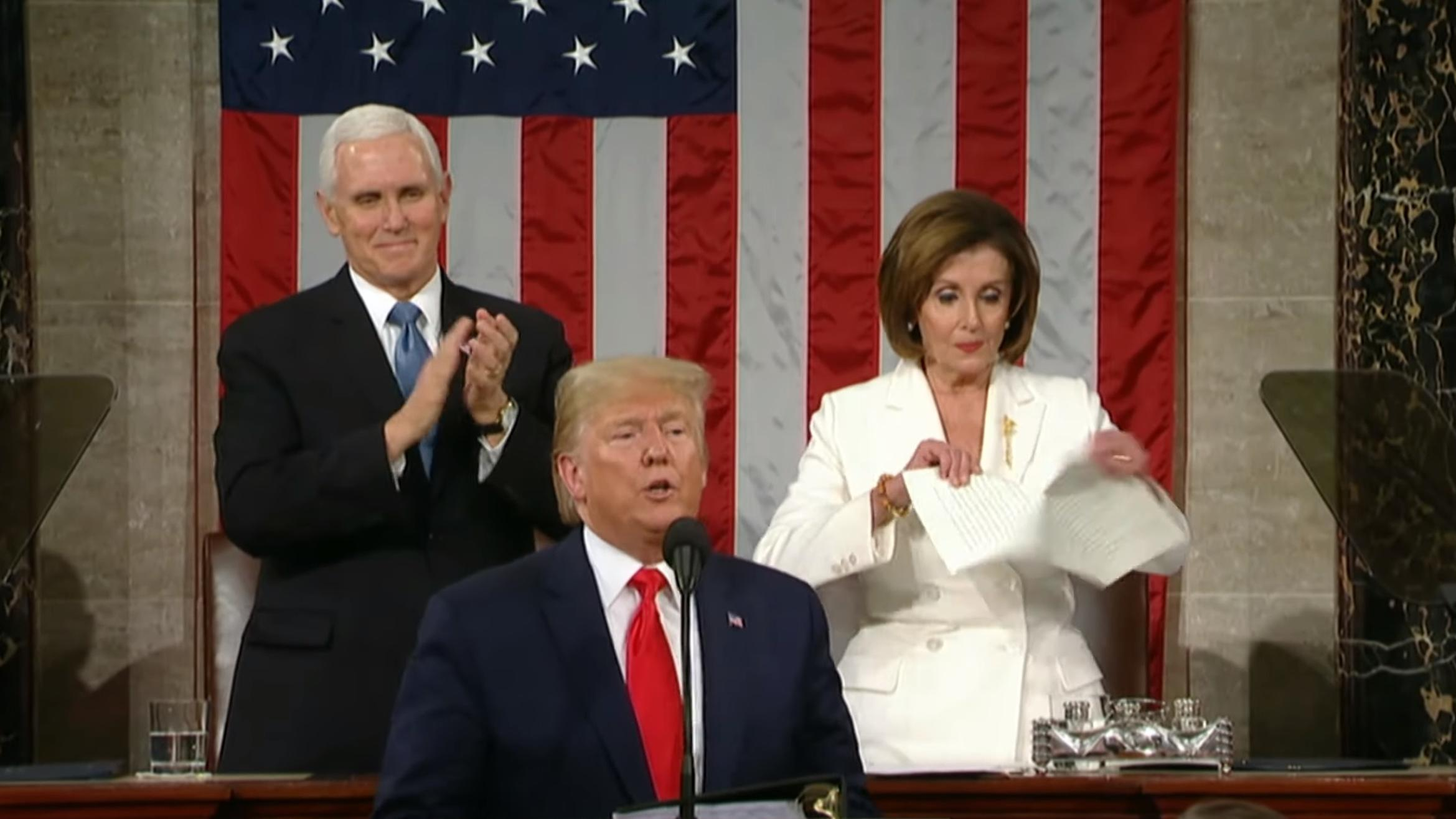 Image result for images of end of impeachment of Trump Pelosi shred paper of Trump's speech