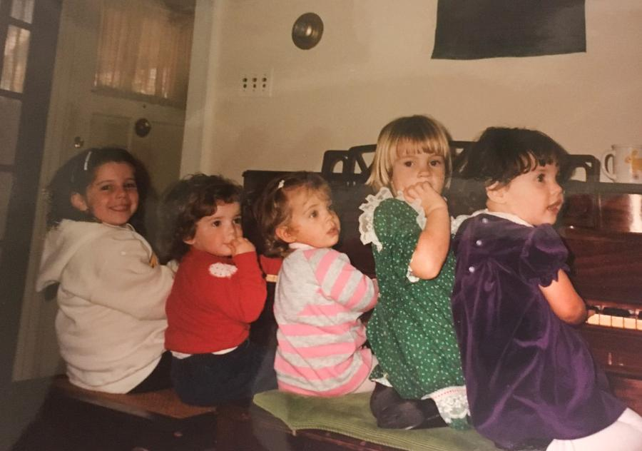 The Taylor babies together as children. Left to right, Gwen Bass, Anlyn Addis, Liz Mesberg, Emily Emberling (a Taylor baby who has not done 23andMe, so Khalil does not know if she is related), and Katie Silver, playing together as children in Ann Arbor, Mich. in 1987.Courtesy Laura Khalil