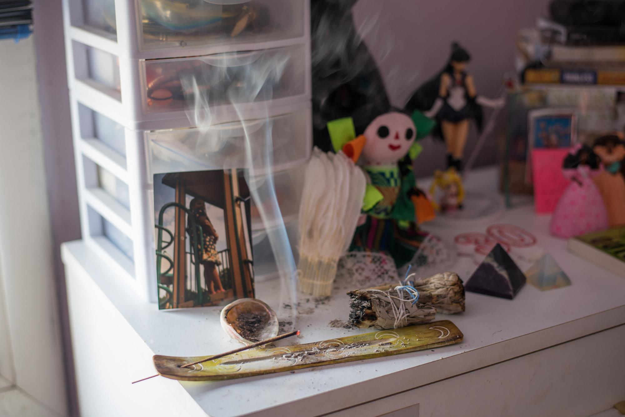 A very important component in my spiritual and purifying practices are lighting incense and burning sage/smudging in order to cleanse my body, environment and spirit. This is done in the privacy of my bedroom in Southfield, Mich.Taken by Rachel Elise Thomas for WDET