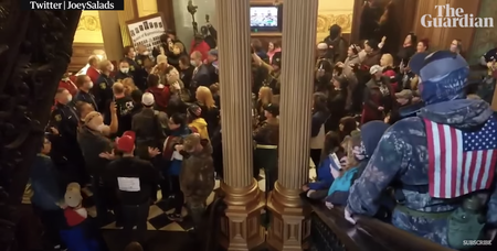 Armed protestors entered the Capitol earlier this year. Screen Grab