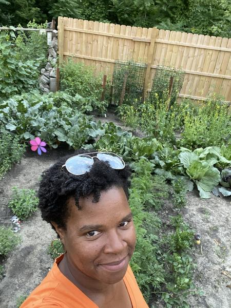 Minya Irby in her Jefferson Chalmers gardenMinya Irby