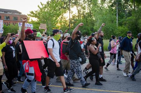 Wallace leads a peaceful protest in June in Detroit.Russ McNamara