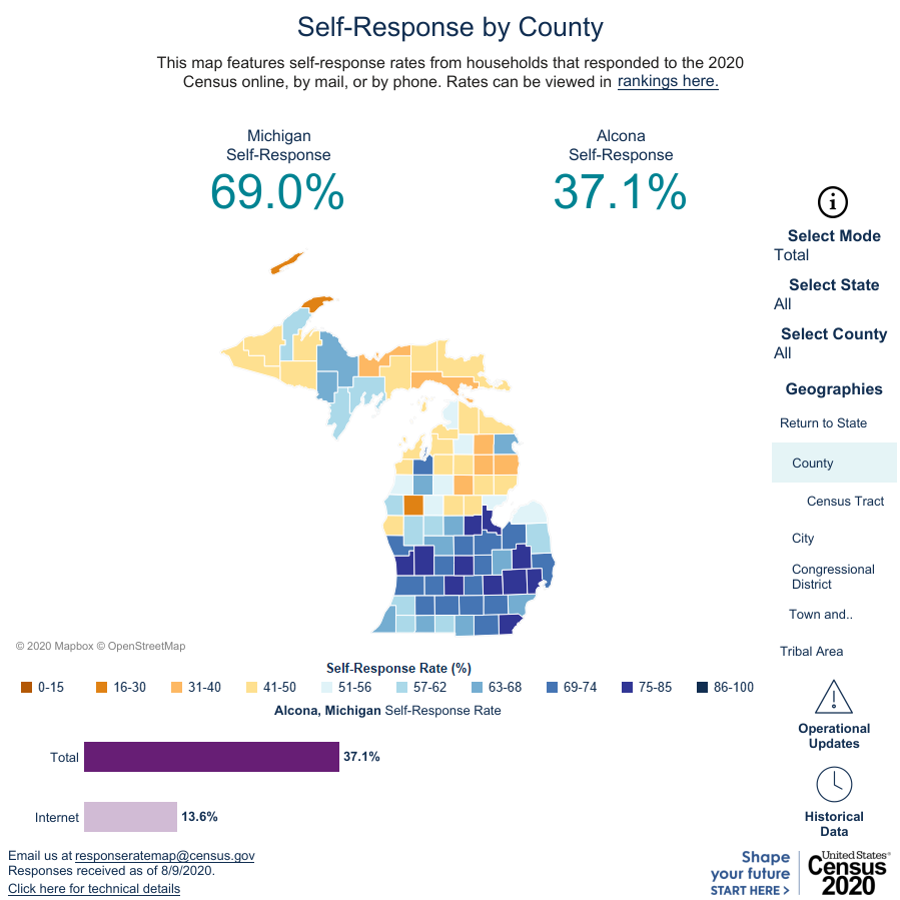 Map shows the divide between county self-response rates.U.S. Census Bureau