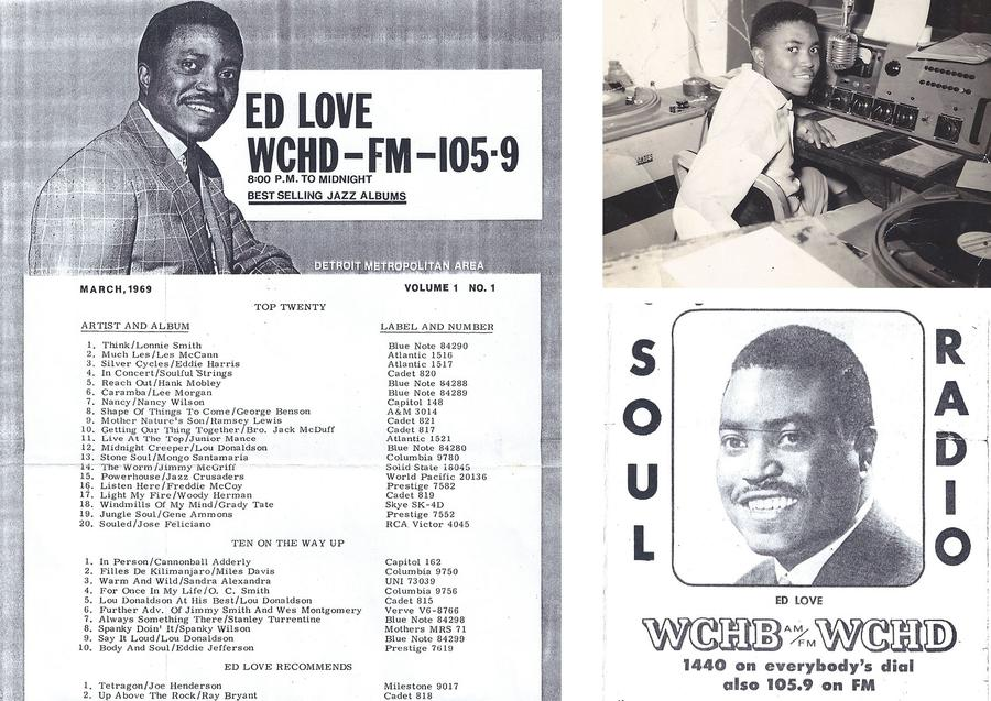 Left: WCHD Playlist, Right (top): 1969 WCHD-FM Top Hits, Right (bottom): Soul News from Soul RadioPhotos courtesy of Hazel Love