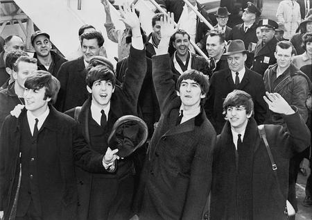 The Beatles arriving in America.Library of Congress