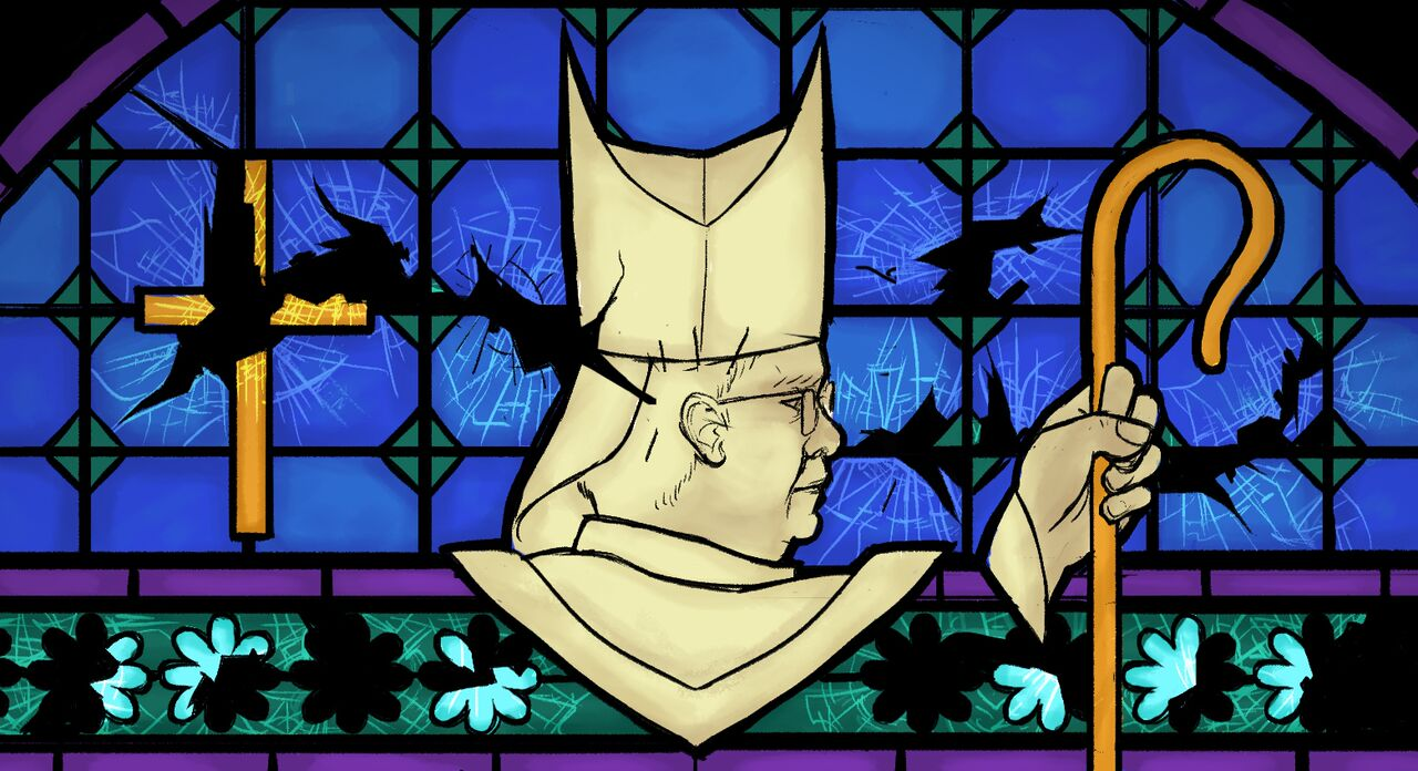 Priest on Stained Glass